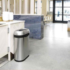 50L slim open bin - brushed stainless steel - lifestyle in restaurant