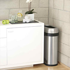 50L slim open bin - brushed stainless steel - lifestyle fits in tight space
