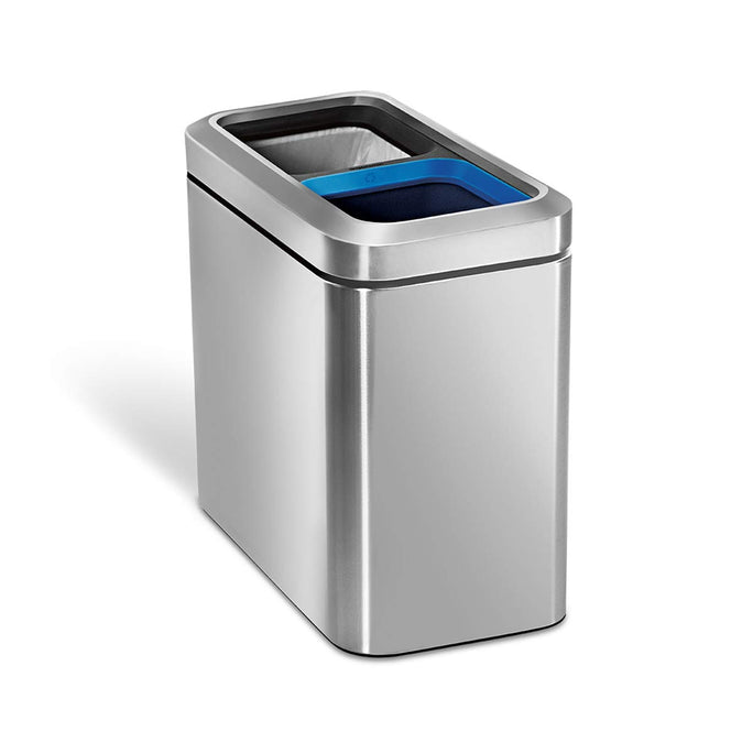20L dual compartment slim open bin - brushed finish - main image