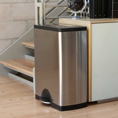 50L rectangular step can - brushed stainless steel - lifestyle can next to stairs image