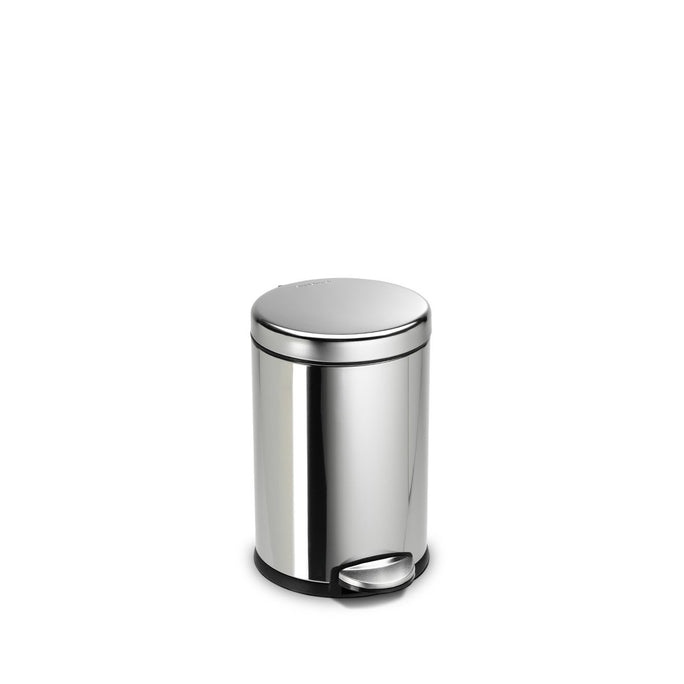 4.5L round pedal bin - polished finish - front view main image