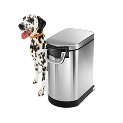 medium pet food can - brushed finish - 3/4 view with dog