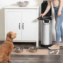 x-large pet food bin - lifestyle woman scooping food