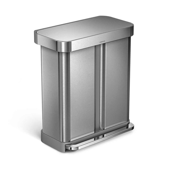 58L dual compartment rectangular pedal bin with liner pocket - brushed stainless steel - main image