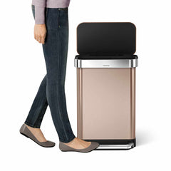 55L rectangular pedal bin with liner pocket - rose gold finish - lifestyle