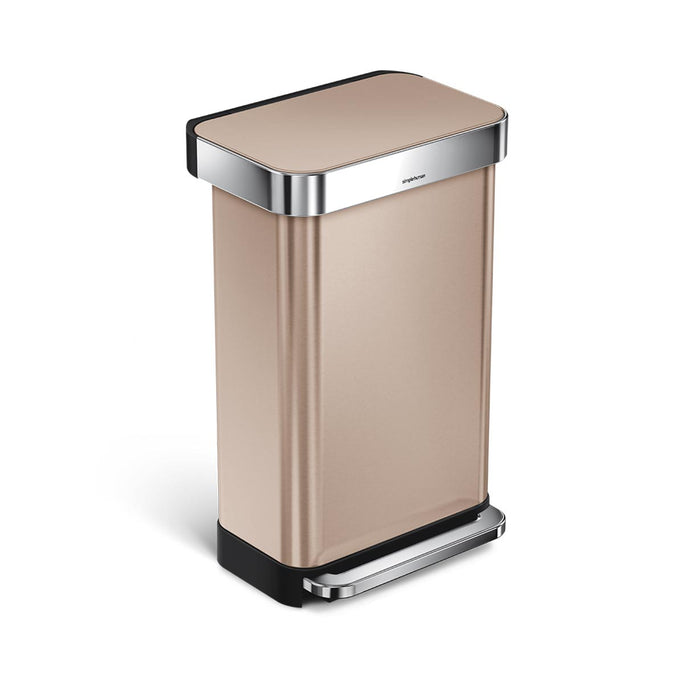 45L rectangular step can with liner pocket - rose gold finish - main image