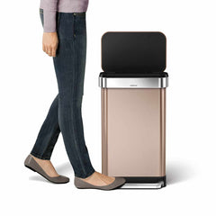 45L rectangular pedal bin with liner pocket - rose gold finish - lifestyle image