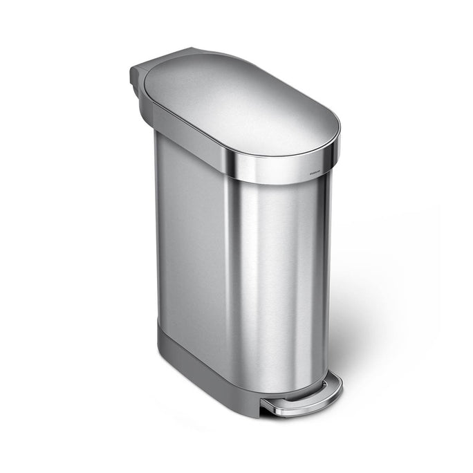 45L slim step can - brushed stainless steel - main image