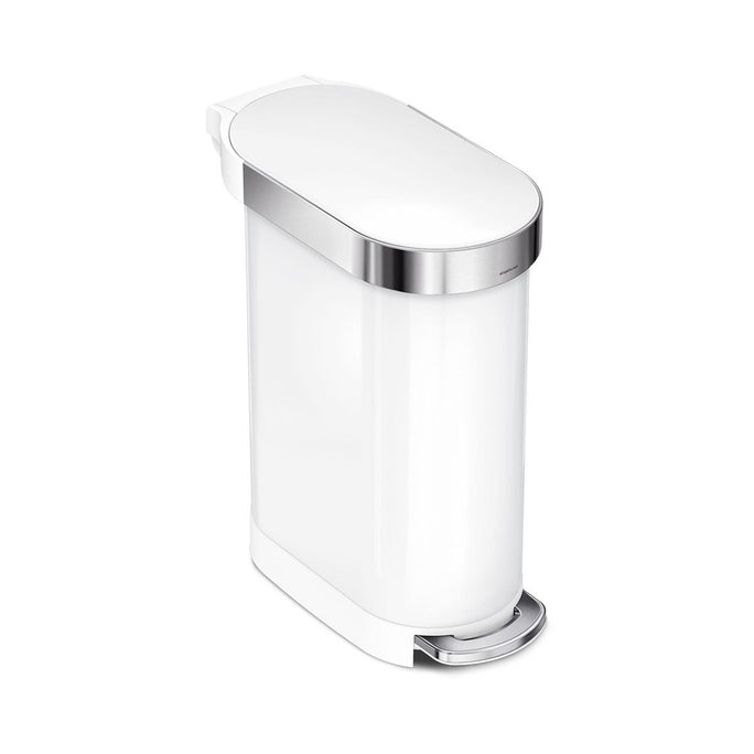 45L slim step can - white steel - main image