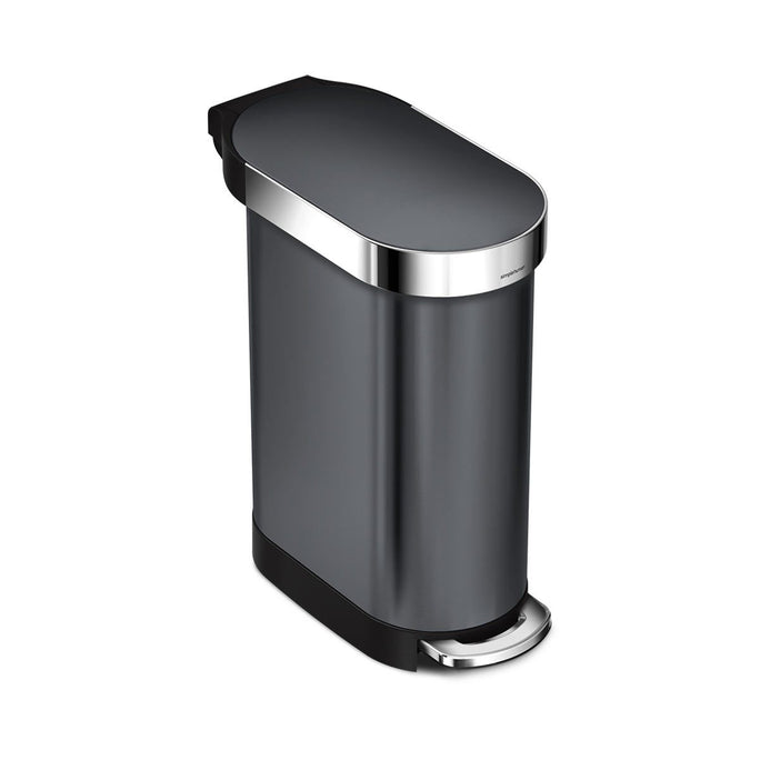 45L slim step can - black stainless steel - main image