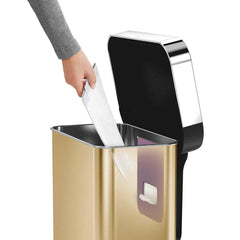 45L rectangular pedal bin with liner pocket - brass finish - liner pocket  image