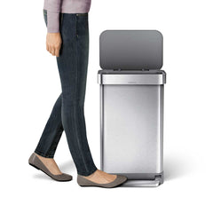 45L rectangular pedal bin with liner pocket with plastic lid - brushed finish - lifestyle foot on pedal image