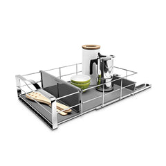 14 inch pull-out cabinet organizer - lifestyle with props