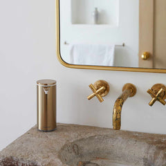 rechargeable liquid soap sensor pump- brass finish - lifestyle in bathroom image