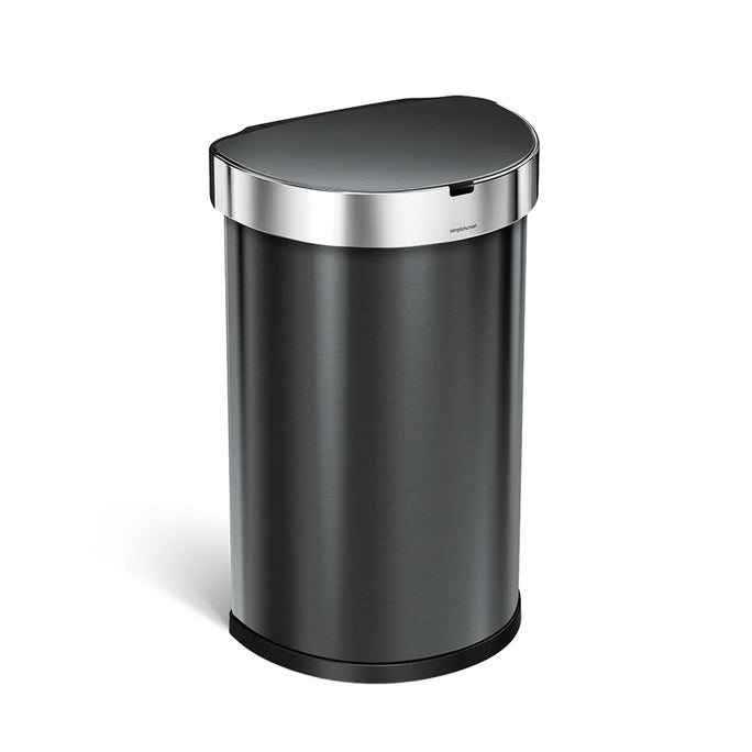 45L semi-round sensor bin - black finish - 3/4 view main image