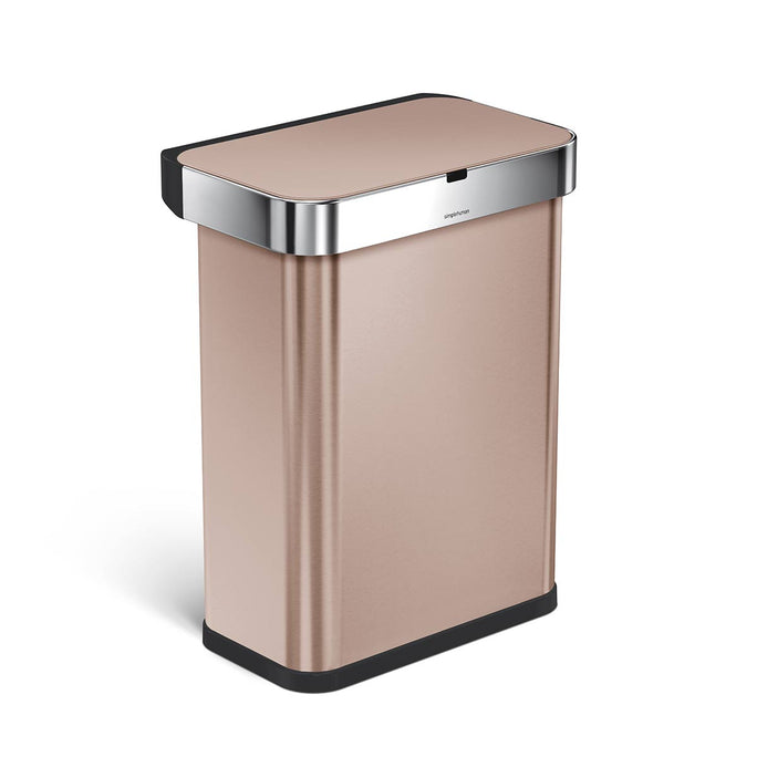 58L rectangular sensor bin with voice and motion control - rose gold finish - 3/4 view main image
