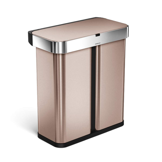 58L dual compartment rectangular sensor bin with voice and motion control - rose gold finish - 3/4 view main image