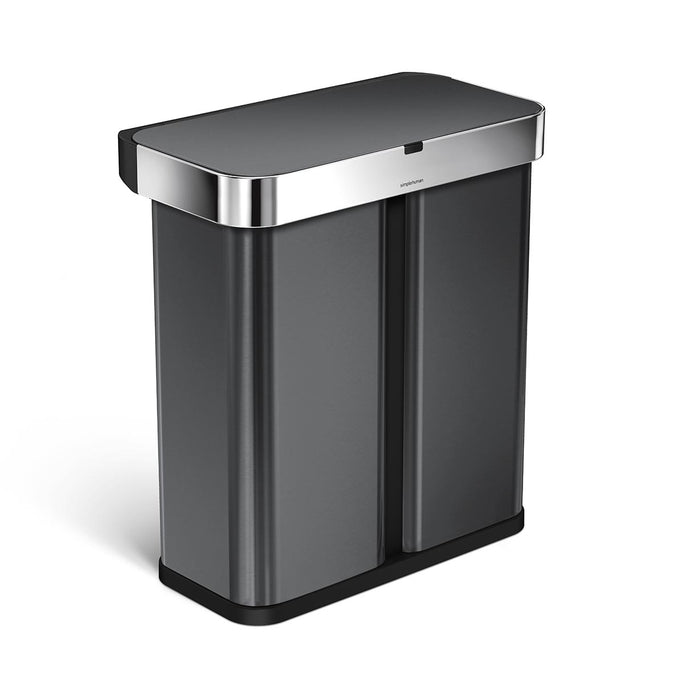 58L dual compartment rectangular sensor bin with voice and motion control - black finish - 3/4 view main image
