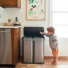 58L dual compartment rectangular sensor bin with voice and motion control - brushed stainless steel - lifestyle in kitchen with kid