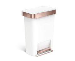 45L plastic rectangular pedal bin with liner pocket - white with rose gold trim - main image