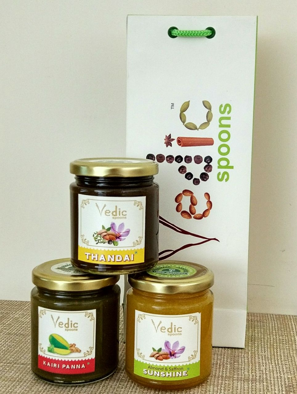 Trial Pack of Almond Saffron, Thandai & Kairi Panna with Giftable Carry Bag - Vedic Spoons