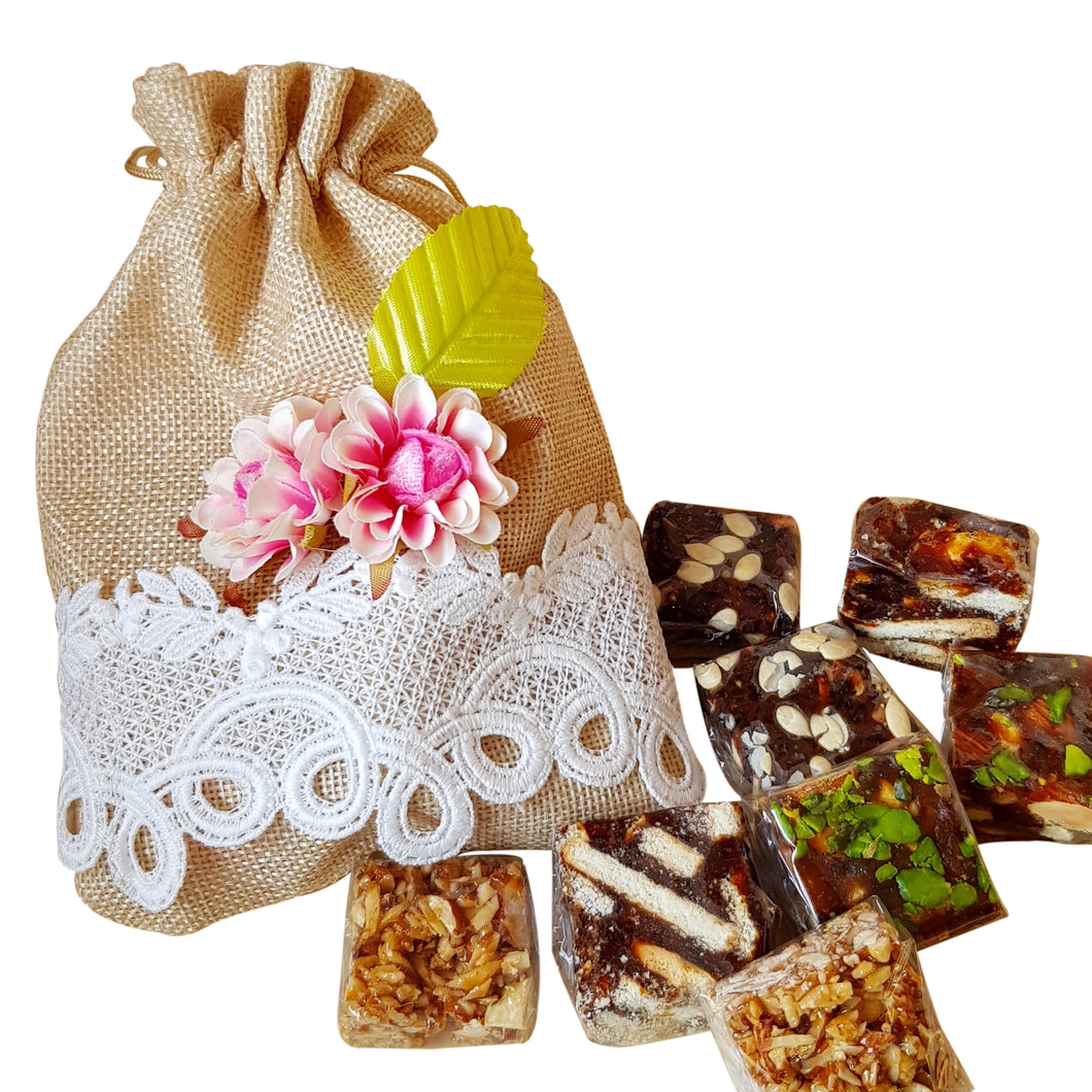 Assortment of Dates variants in Giftable Woven Bag - Vedic Spoons
