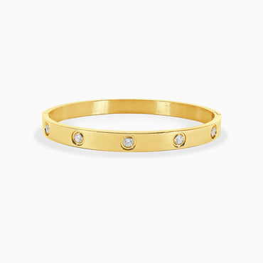 Oval Bracelet Studded - Yellow Gold