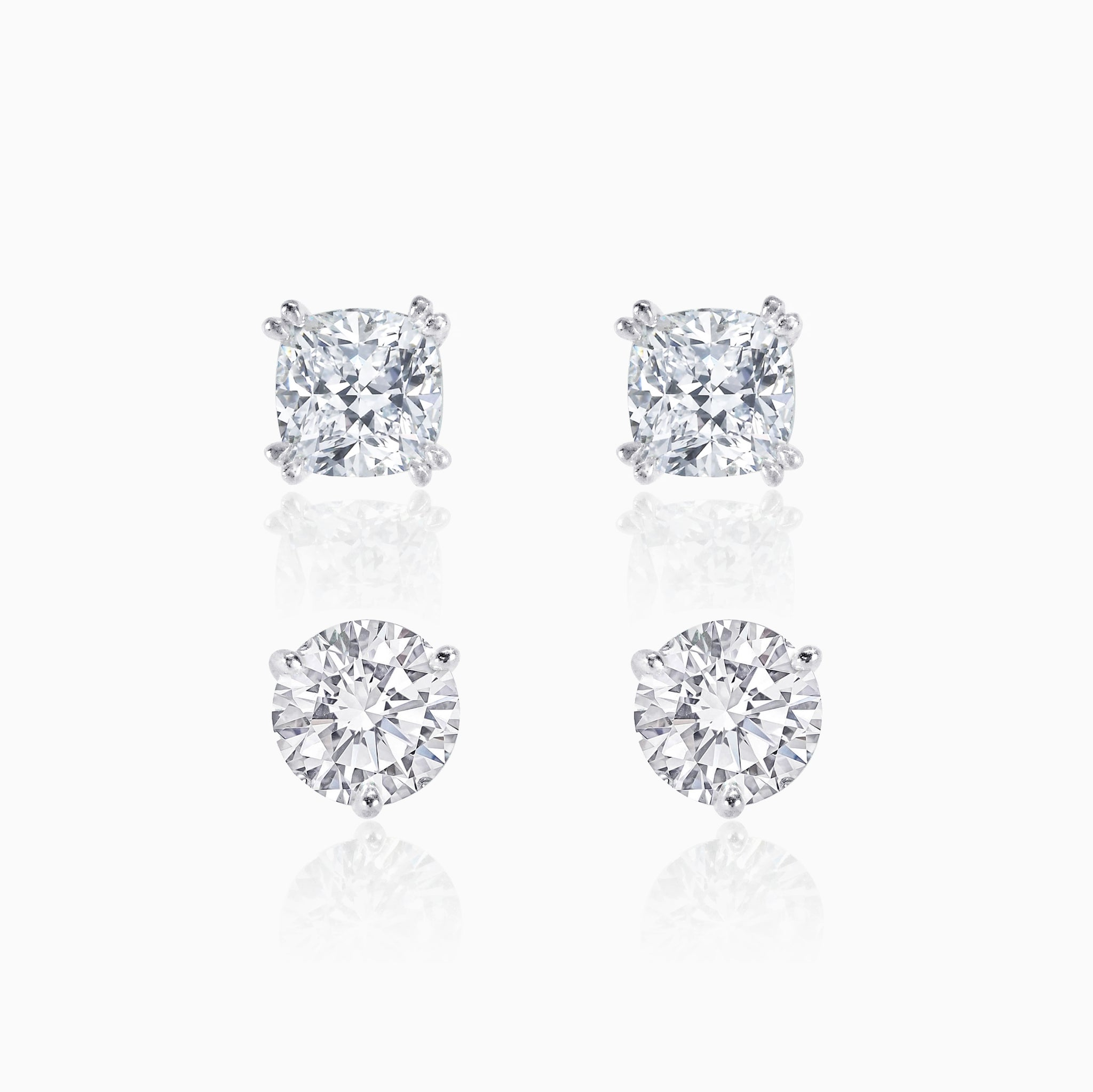 Round & Cushion Cut Stud Earrings