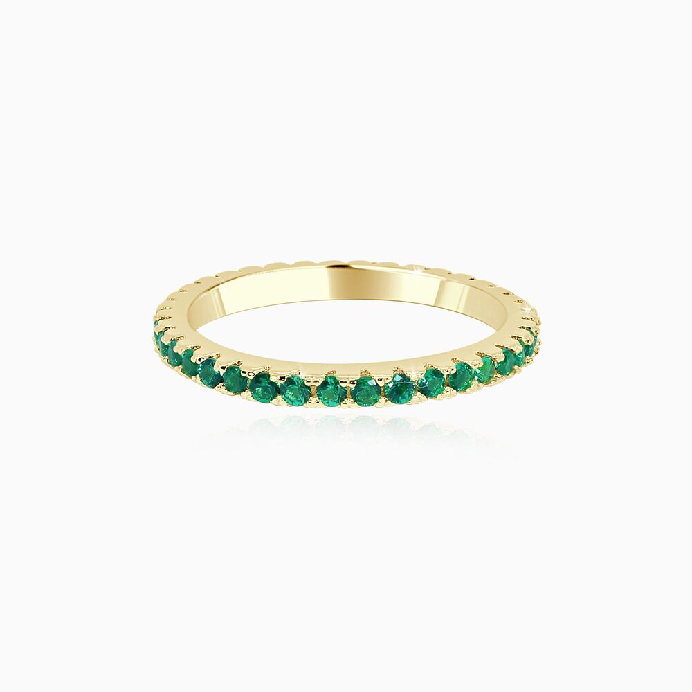 Micro Pavé Eternity Band - Emerald Green