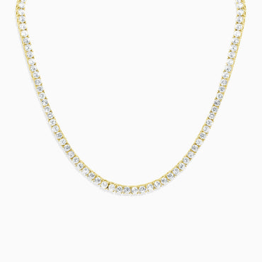 Round Cut Tennis Necklace - Gold