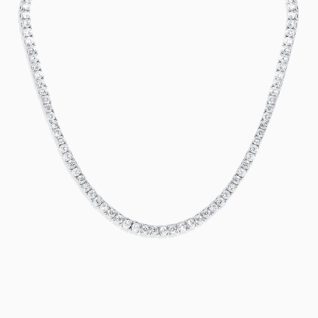 Round Cut Tennis Necklace - Silver