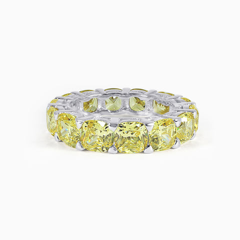 Yellow Cushion Cut Eternity Band