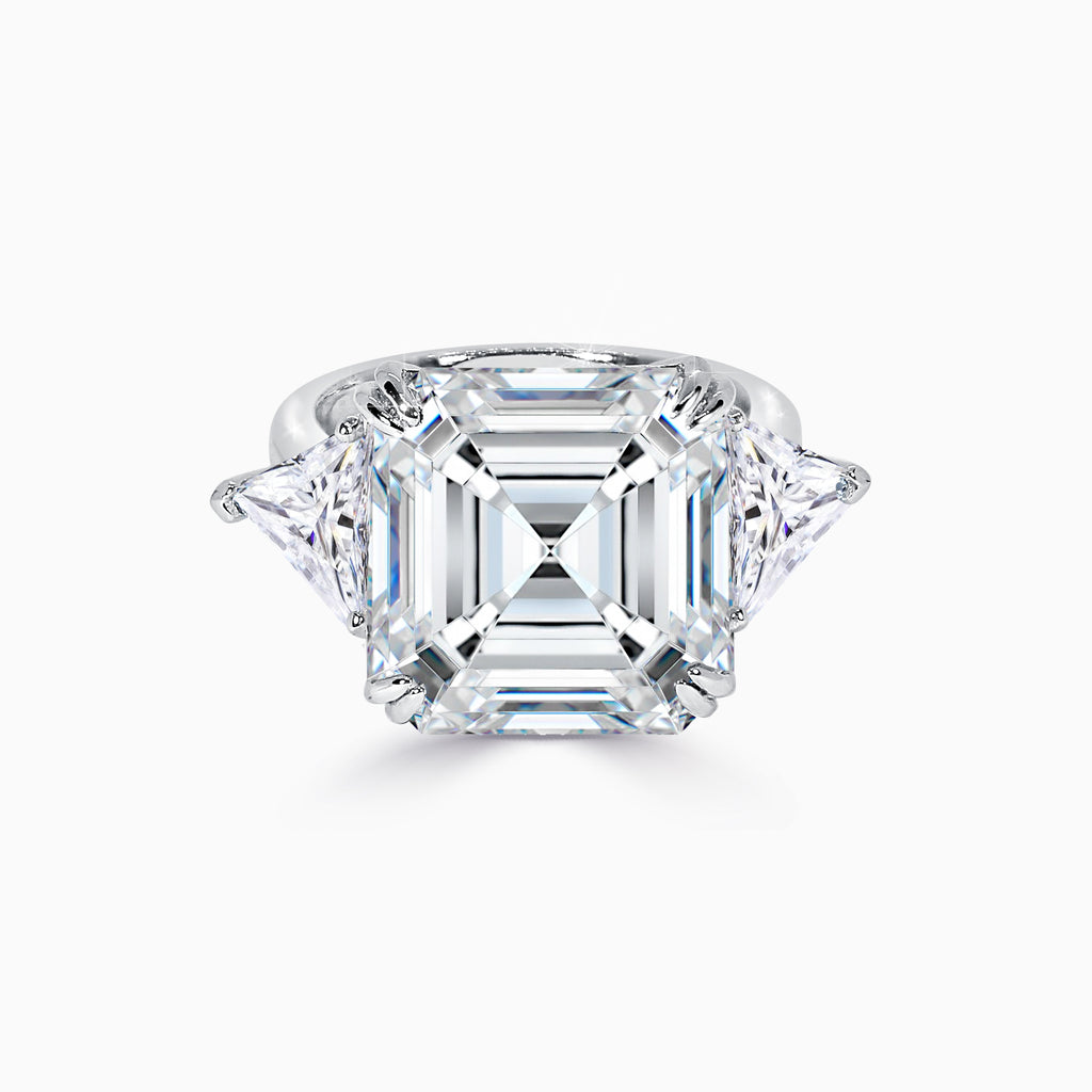 10ct Asscher Cut Three Stone Ring
