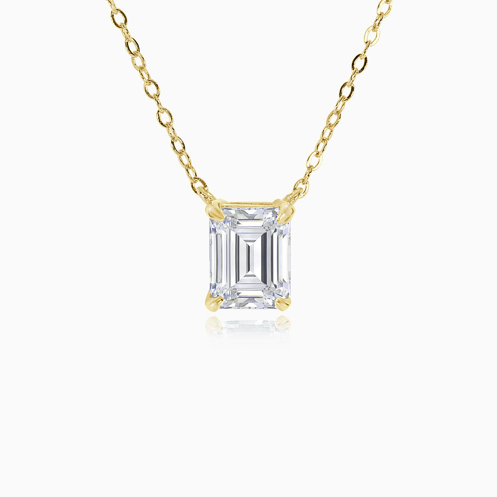 3ct Emerald Cut Pendant - Gold