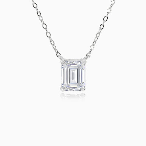 3ct Emerald Cut Pendant - Silver