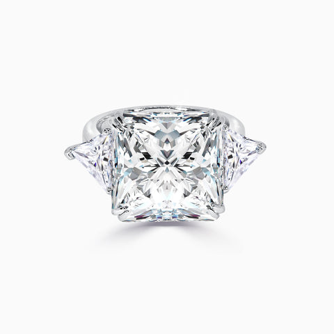 8.5ct Princess Cut Three Stone Ring
