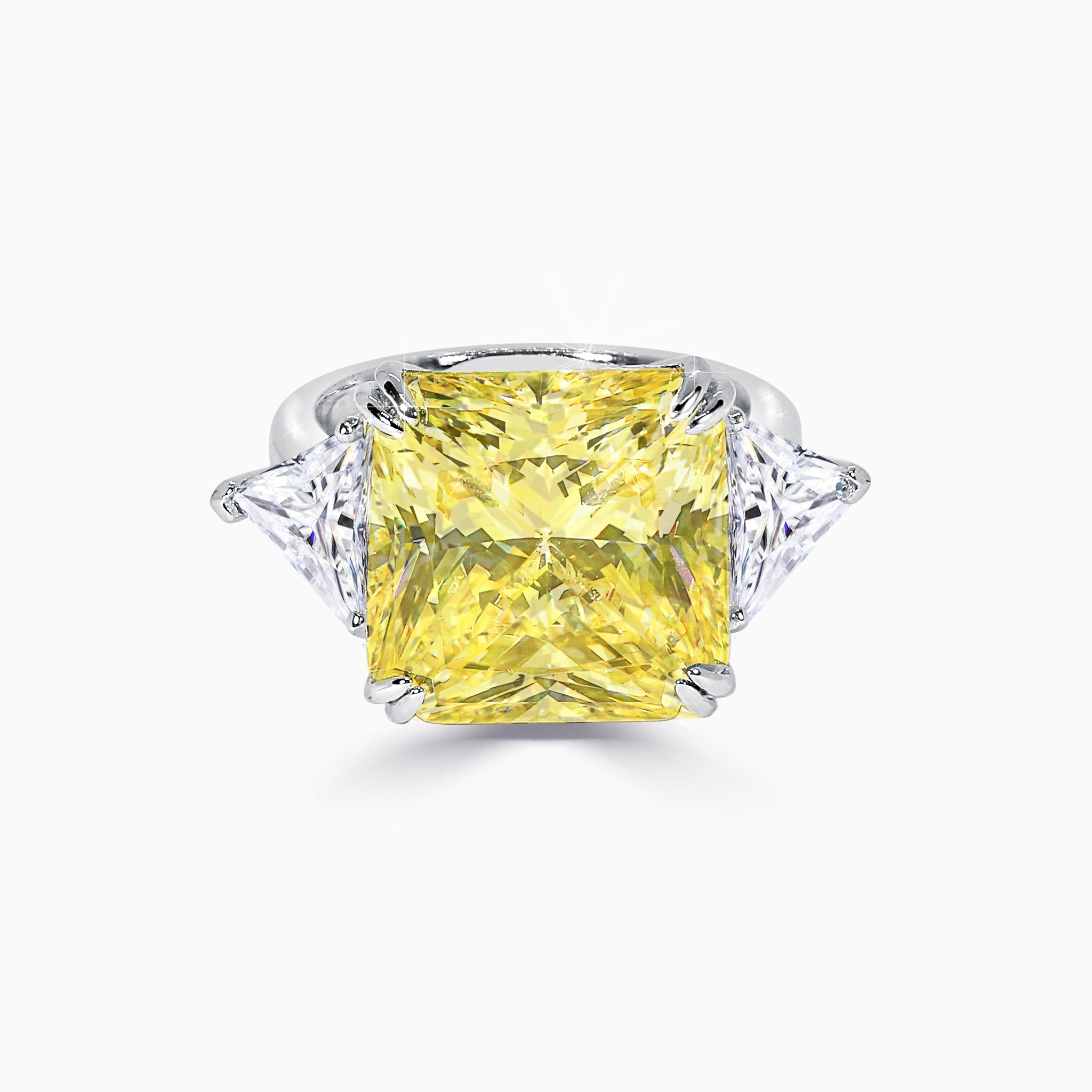 8.5ct Princess Cut Yellow Three Stone Ring