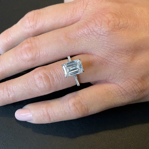 4ct Emerald Cut Under Halo Ring