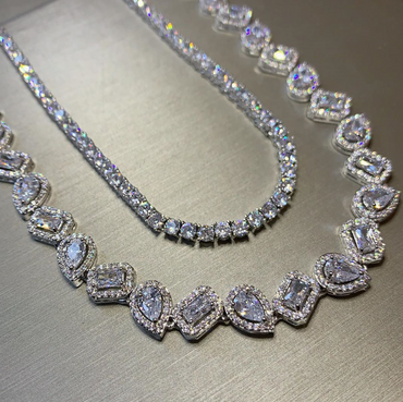 Pear & Radiant Cut Halo Necklace