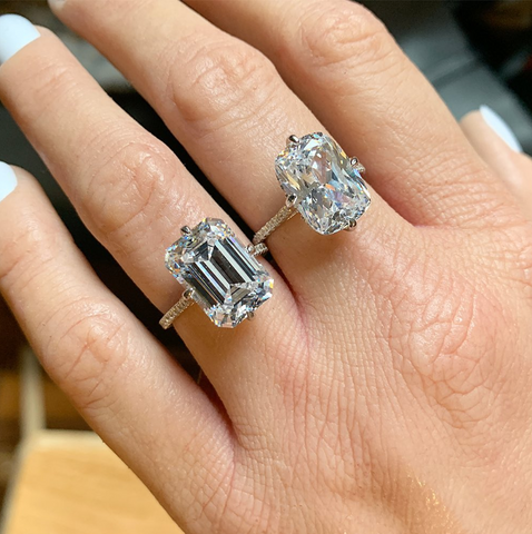 9.6ct Emerald Cut Micro Pavé Ring