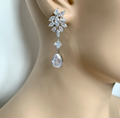 Pear, Marquise & Princess Cut Long Drop Earrings