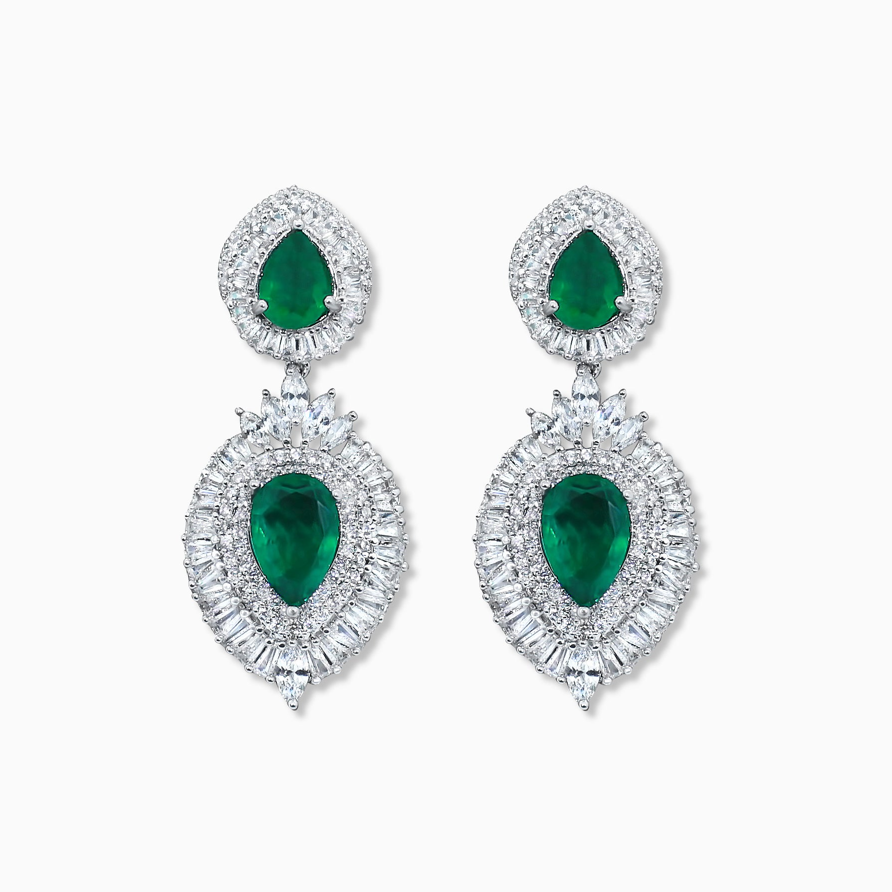 Double Emerald Pear Cut Earrings