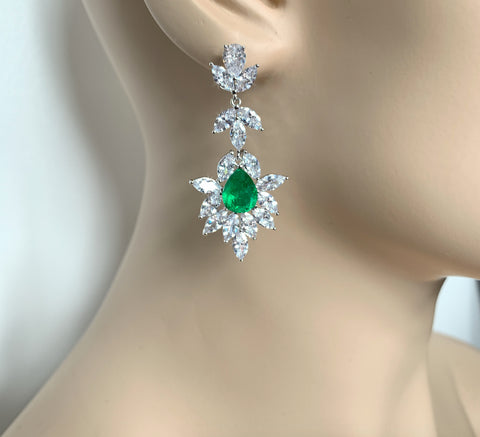 Emerald Pear Cut Mixed Cut Drop Earrings