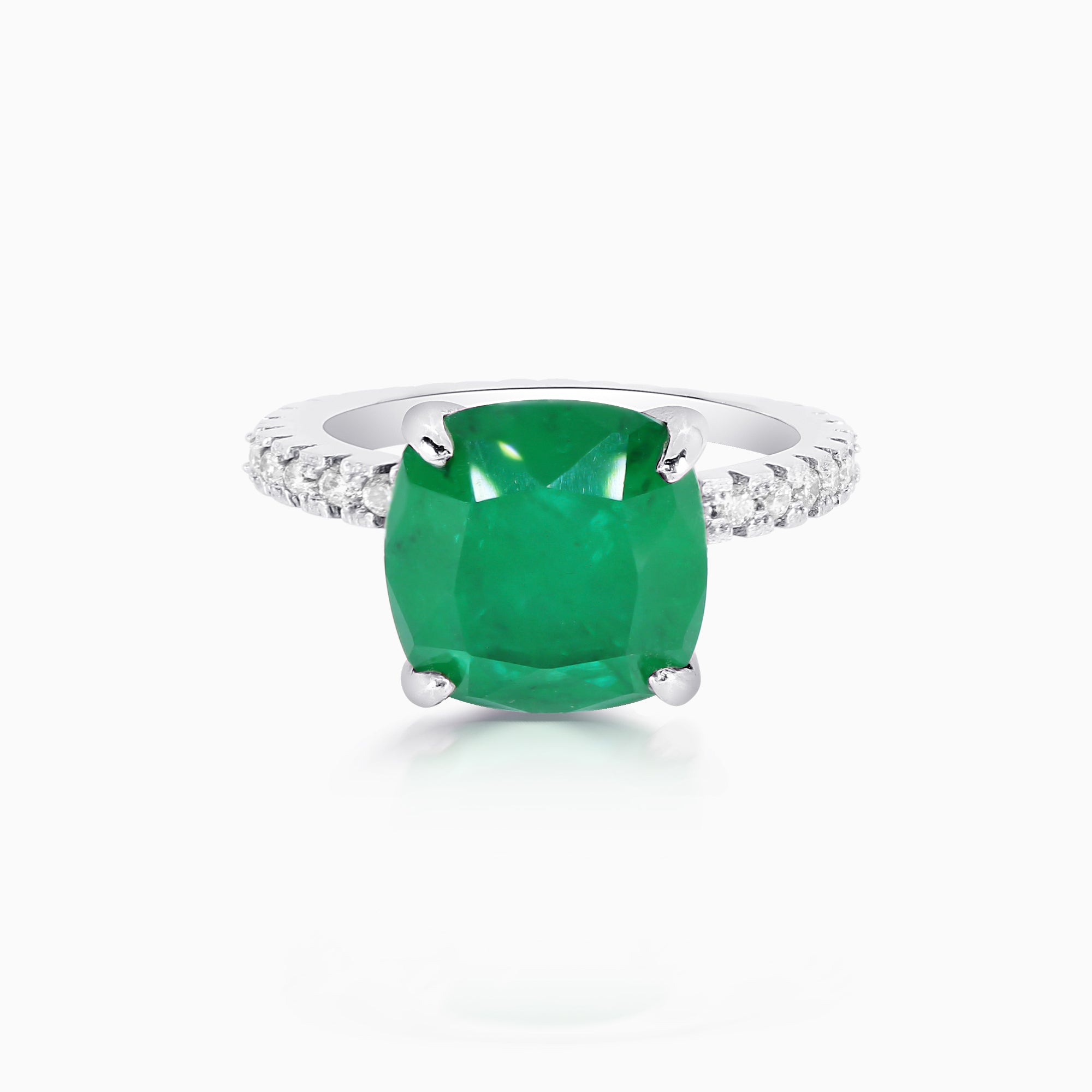 5ct Emerald Cushion Cut Ring