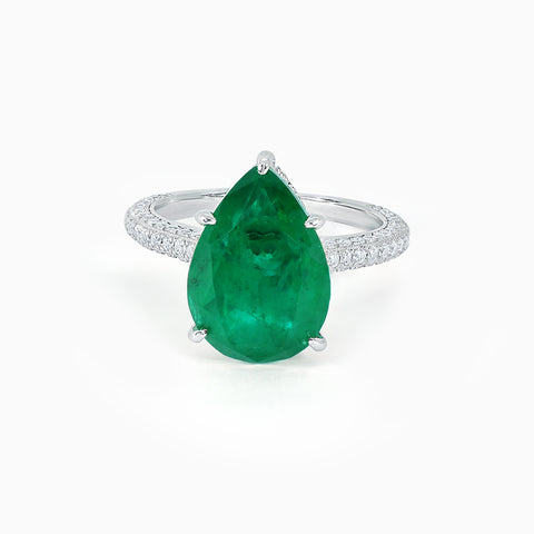 Emerald Pear Cut Micro-Pavé Ring