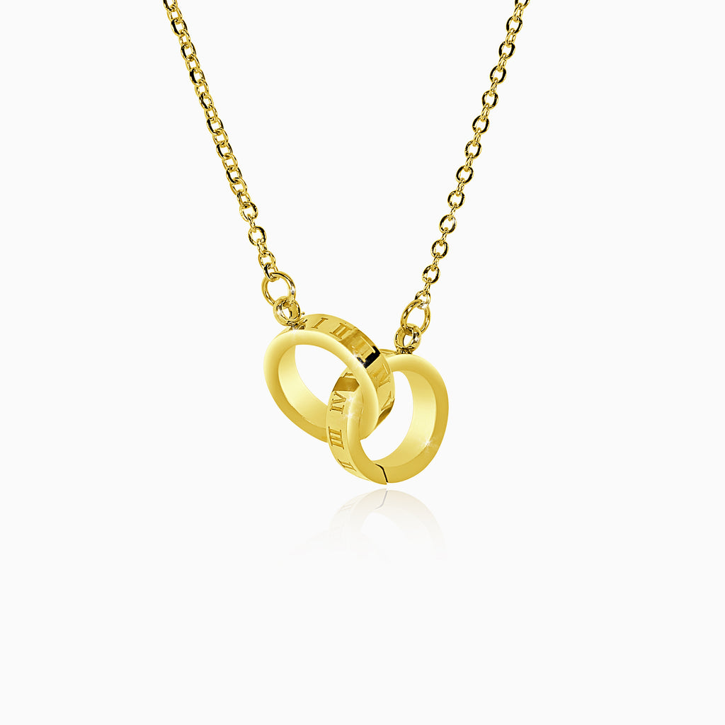 Interlocking Roman Numeral Necklace - Yellow Gold