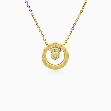 Double Ring Numeral Pendant Necklace - Gold