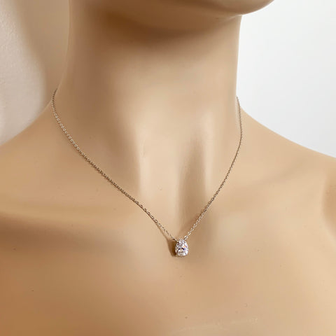 1.85ct Pear Cut Pendant - Silver