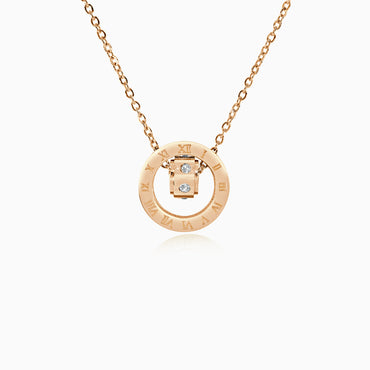 Double Ring Numeral Pendant Necklace - Rose Gold