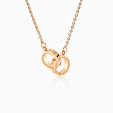 Interlocking Roman Numeral Necklace - Rose Gold